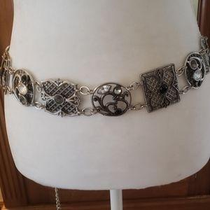 CHICO'S Silver Filigree Jeweled Belt